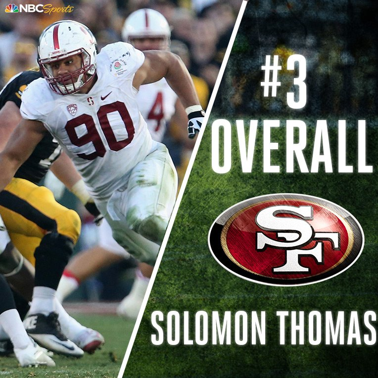 With the #3 pick of the #NFLDraft, the @49ers select @SollyThomas90! h...