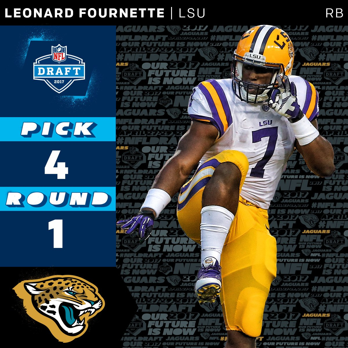 The @Jaguars select @_fournette with the #4 overall pick!  #NFLDraft h...