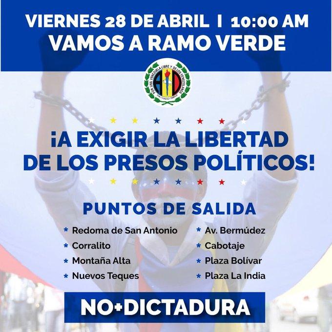 Mañana todos a Ramo Verde a exigir libertad plena para nuestros presos políticos y reafirmar compromiso de verlos de nuevo en libertad.