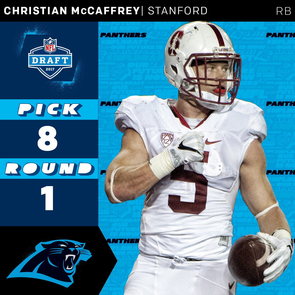 The @Panthers select @CMcCaffrey5 with the #8 overall pick!  #NFLDraft...