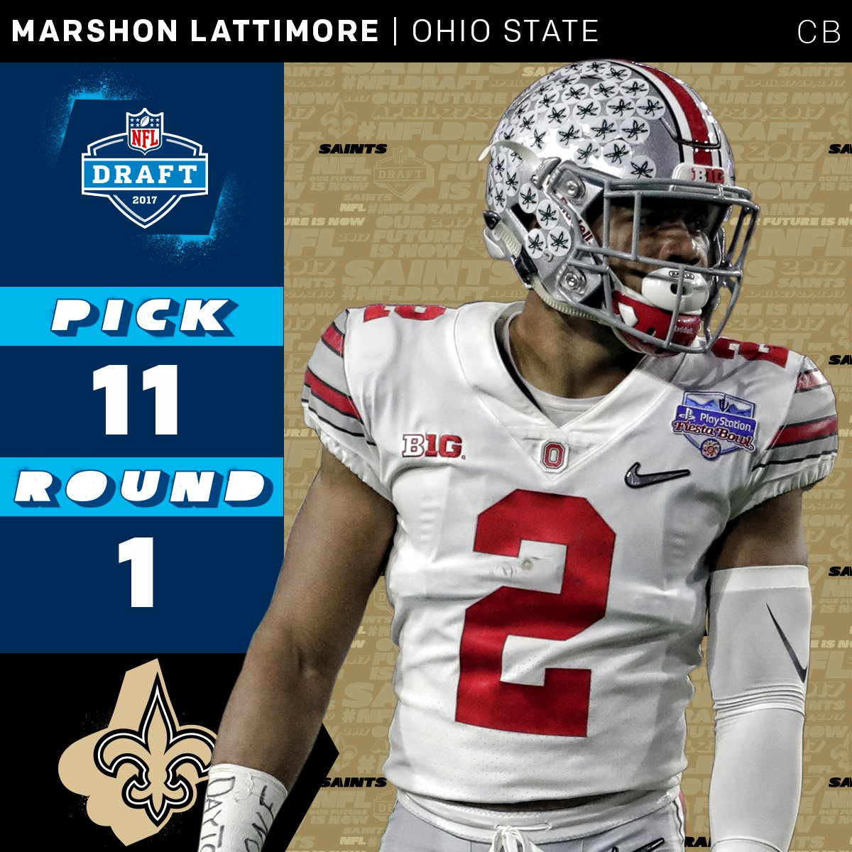 The @Saints select @OhioStateFB CB @shonrp2 with the #11 overall pick!...