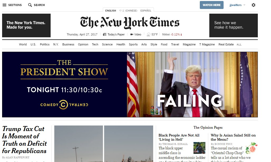 Check out the amazing ad running at the top of the failing @nytimes homepage right now. https://t.co/3SosKYAtnh (HT @darlin)