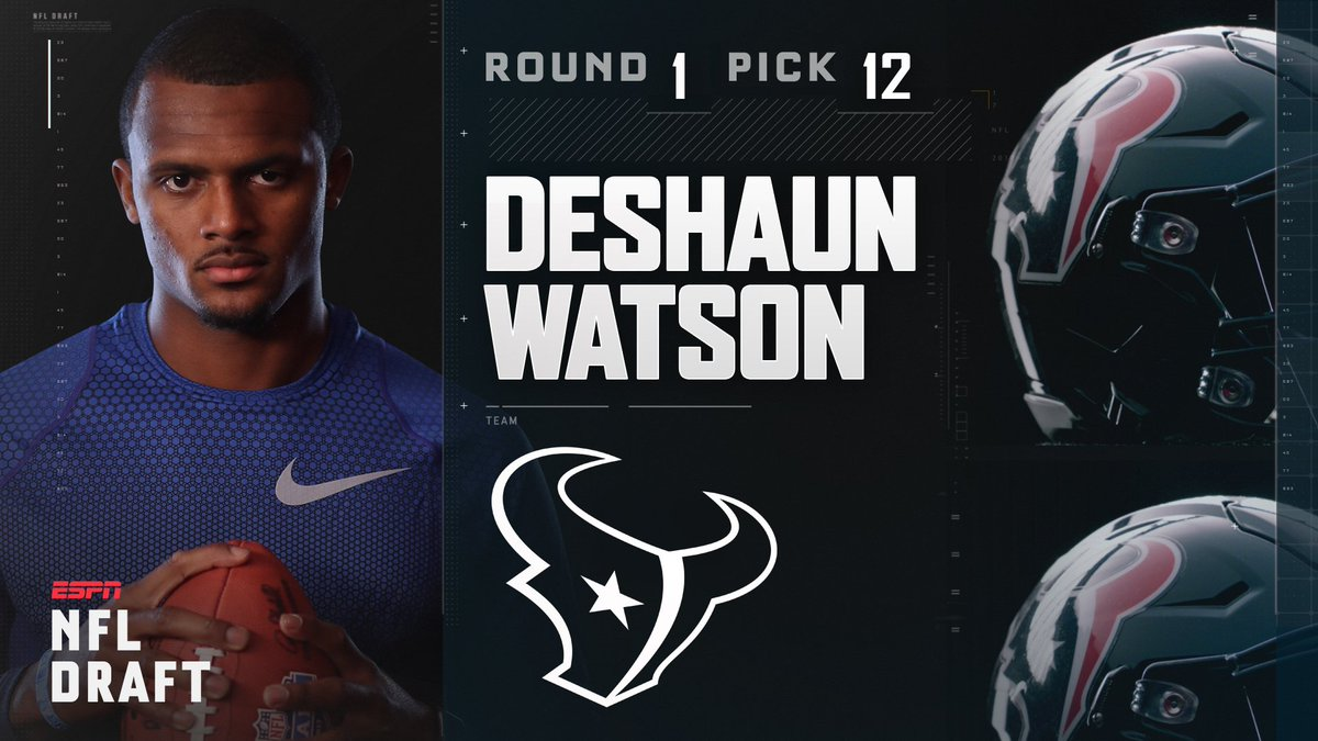 With the 12th pick in the 2017 NFL Draft, the Houston Texans select Deshaun Watson.