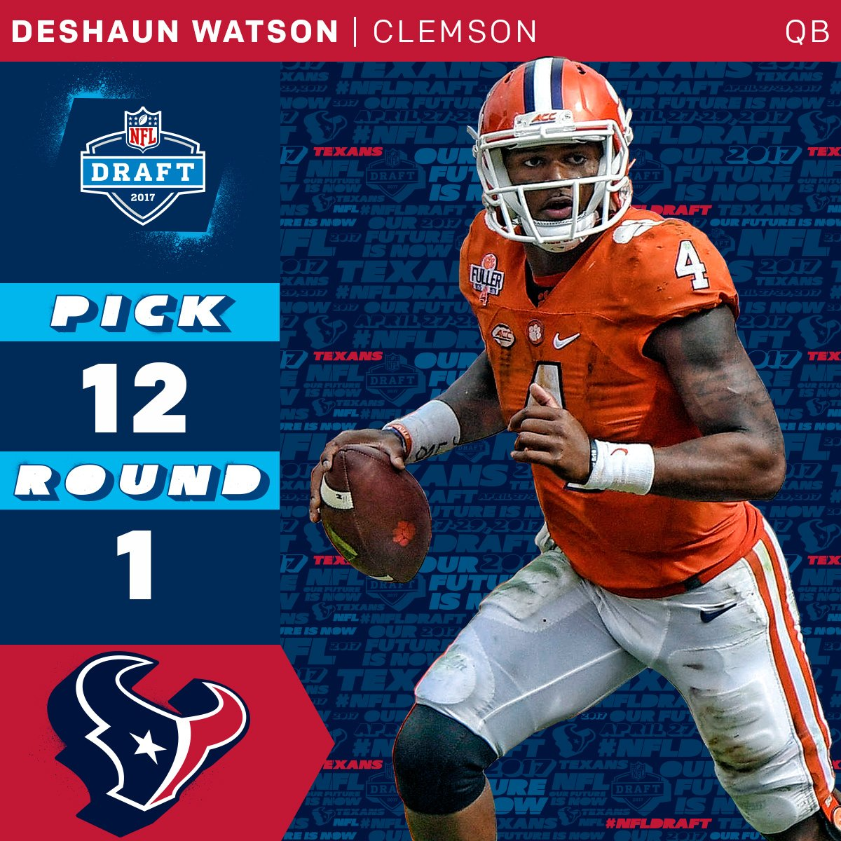 The @HoustonTexans trade up to select @ClemsonFB QB @DeshaunWatson4 with the #12 overall pick!   #NFLDraft