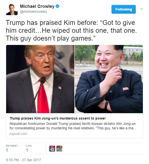 Image result for trump praises kim jong un