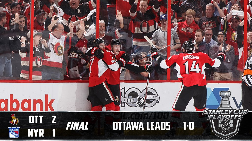 Late third period heroics and the @Senators take Game 1. #StanleyCup #...