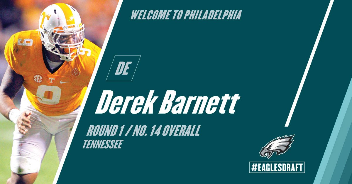 With the 14th pick in the #NFLDraft, the #Eagles select Derek Barnett....
