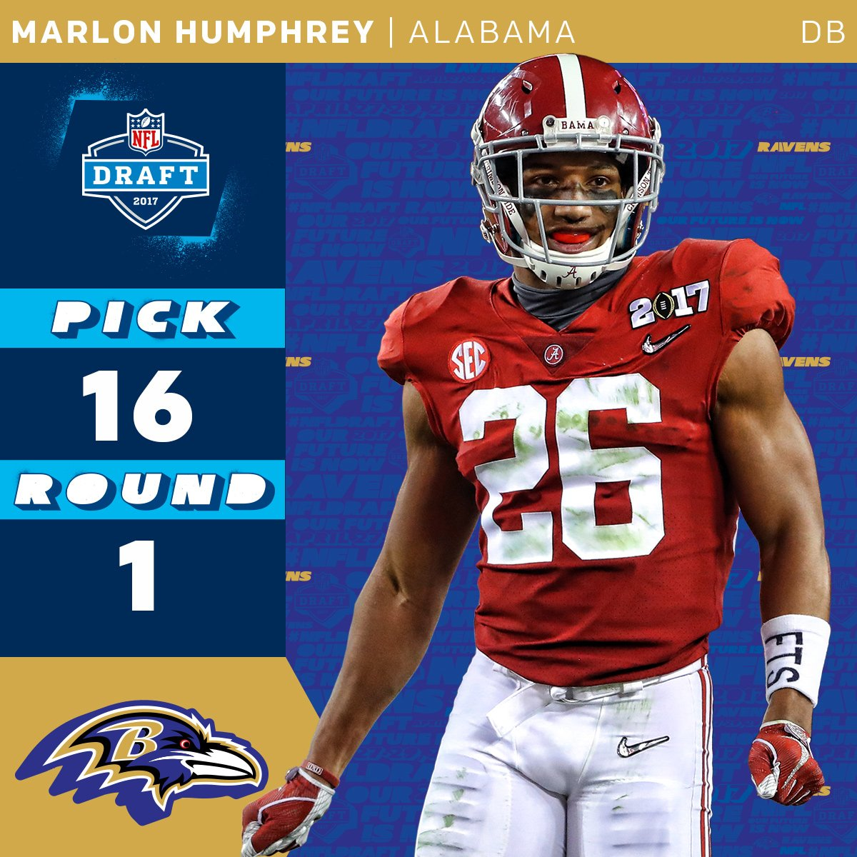 The @Ravens select @AlabamaFTBL DB @marlon_humphrey with the 16th over...