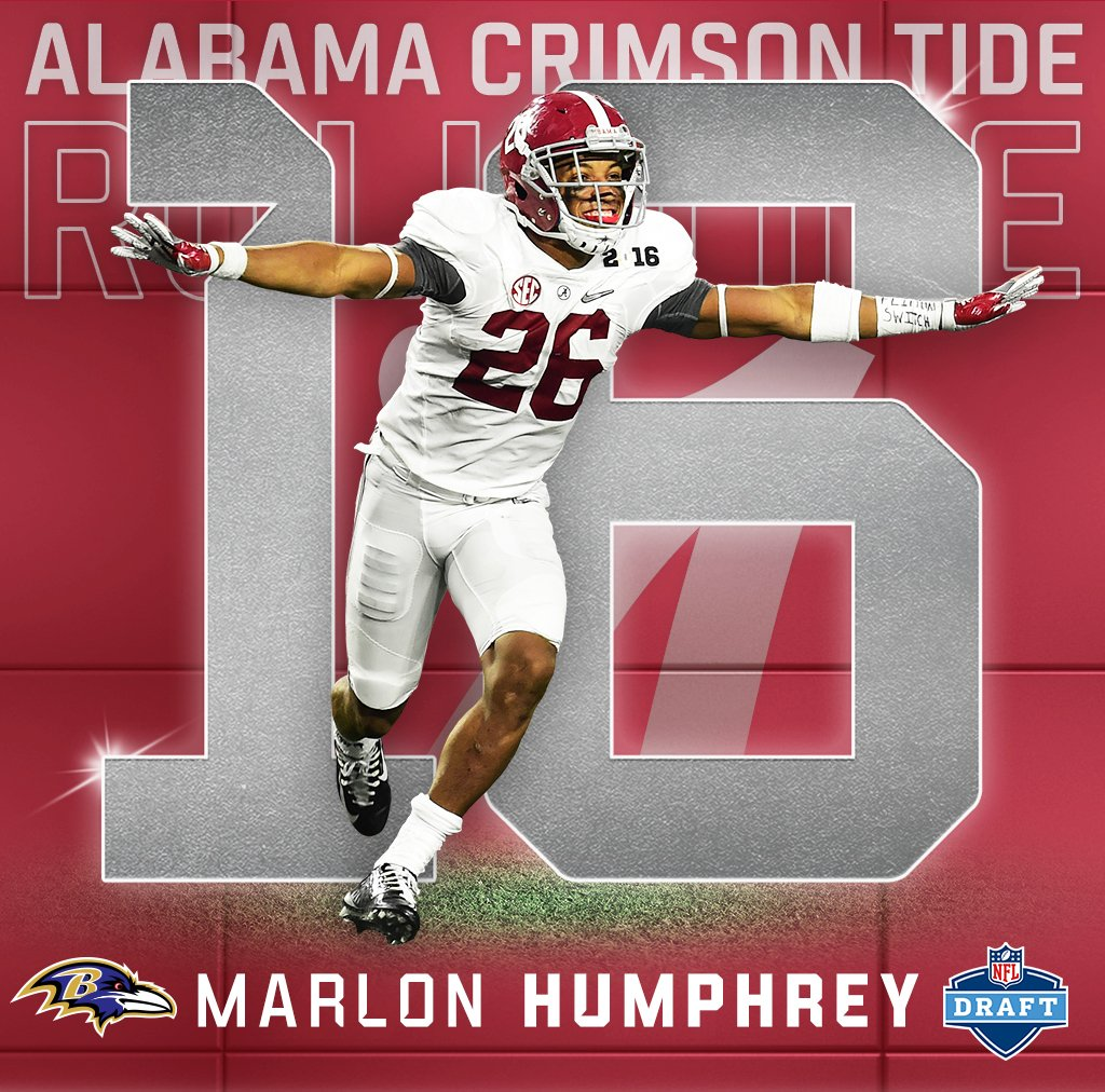 Round 1. Pick 16.  Marlon Humphrey is the 8th @AlabamaFTBL player sele...