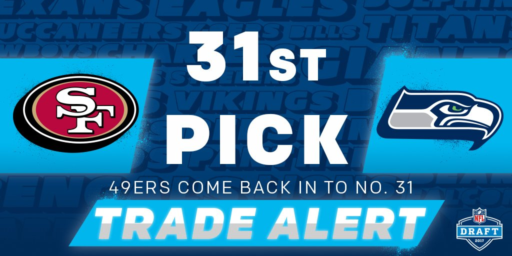 🚨 TRADE ALERT! 🚨   The @49ers trade up to the 31st pick (via the @Seah...