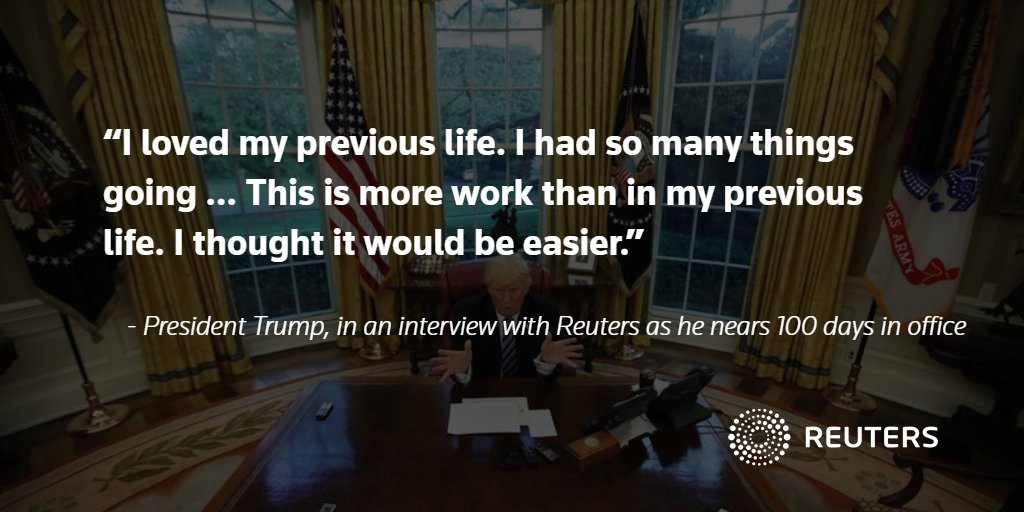 EXCLUSIVE: Trump says he thought being president would be easier than his old life. Read more:  https://t.co/U4sYCh4tqS