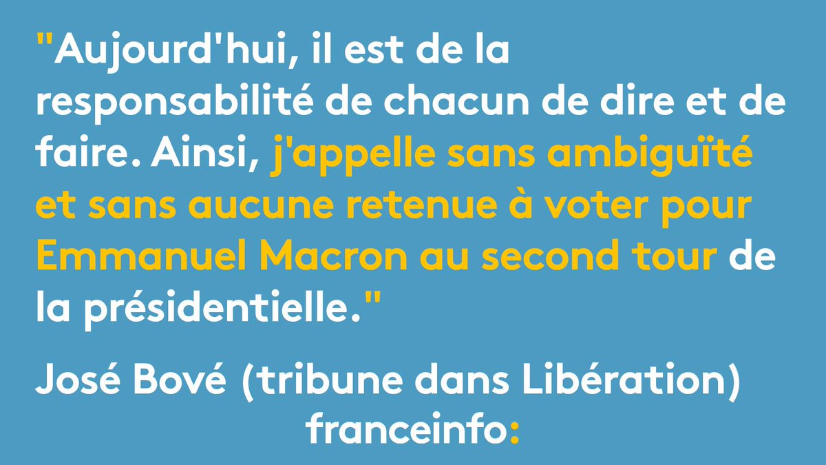José Bové appelle à voter Macron et déplore que le 'ni-ni' soit devenu 'tendance, voire révolutionnaire, écologiste,(...), insoumis...'