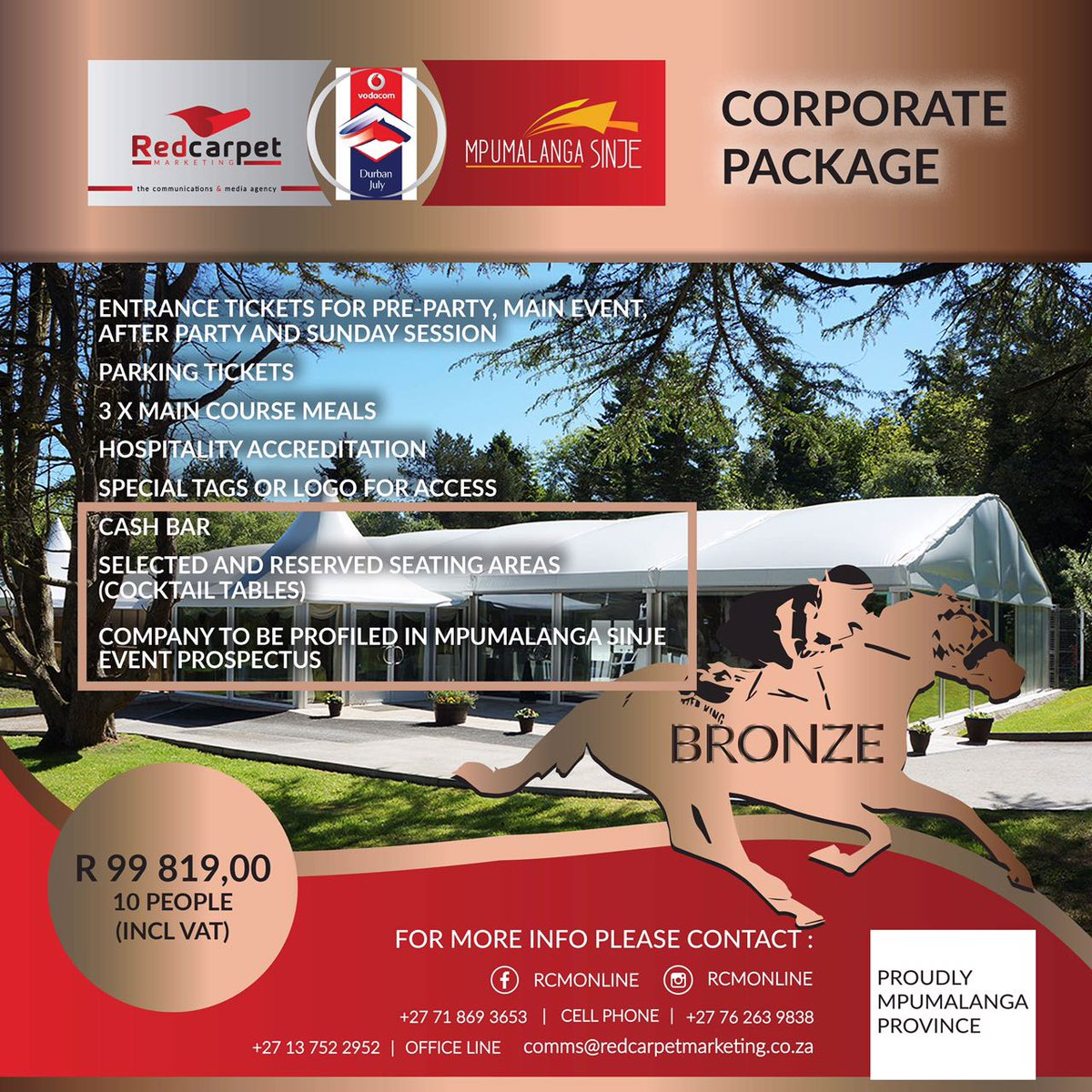 Red Carpet Marketing On Twitter Mpumalanga Sinje Our Corporate Packages For The 2017 Vodacom Durban July Vdj17 Rcmonline Hauteculture Hautecouture
