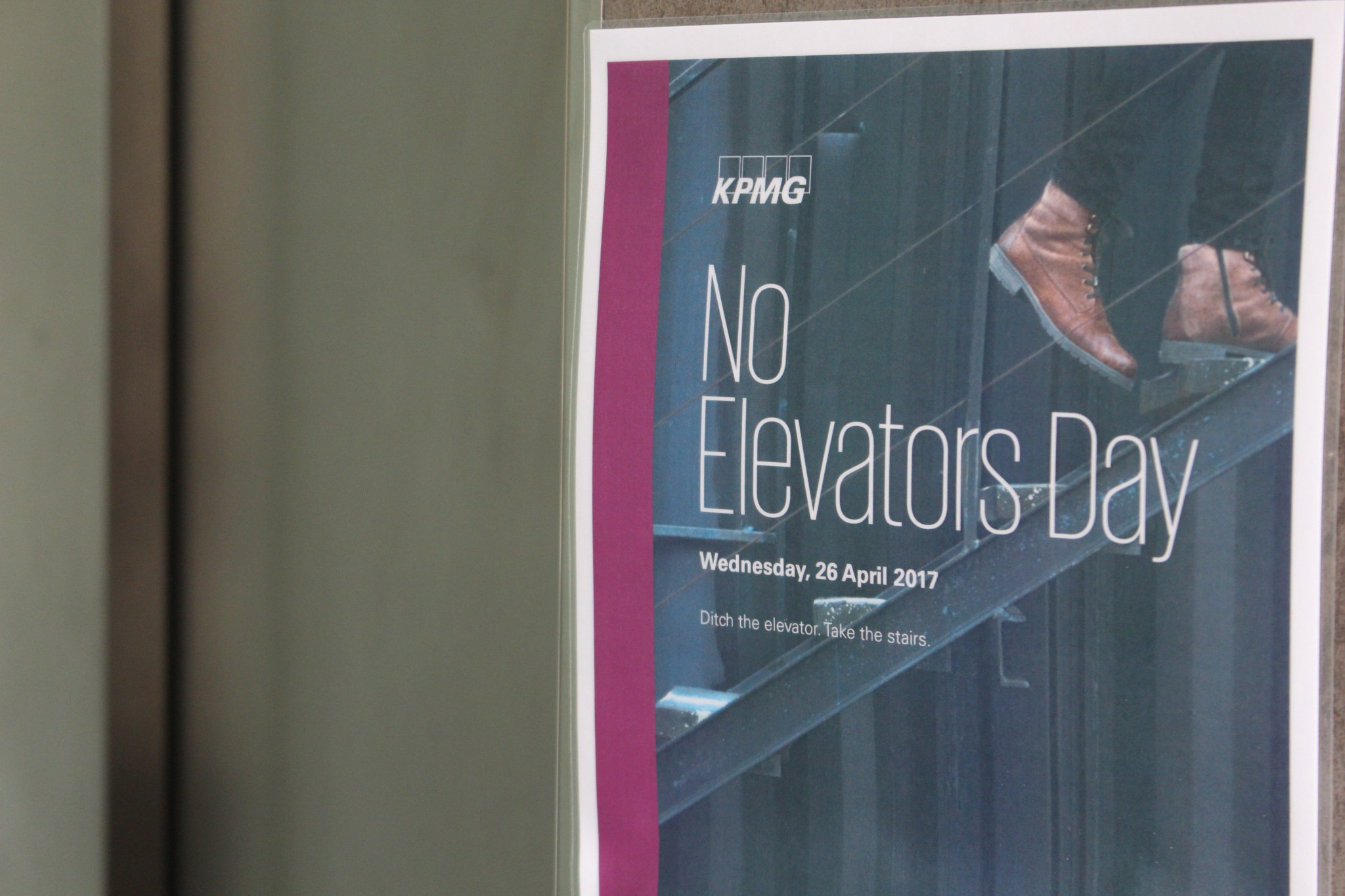 Today we encouraged our clients and employees to ditch the #lift and take the #stairs for #NoElevatorsDay! #CSR #exercise #steps @NowWeMove https://t.co/gjTiY5EoDK