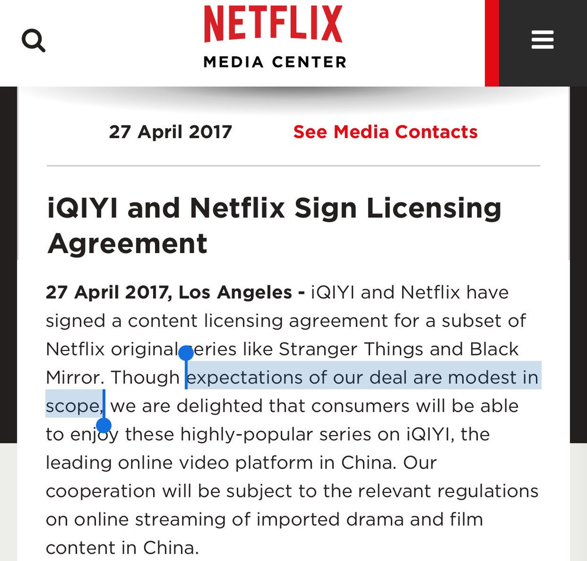 Jacky wong on twitter netflix doesnt sound very excited about pretty much in line with what i think biocorpaavc