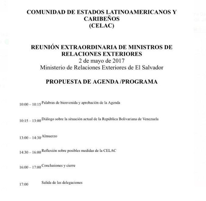 El cronograma de la reunión extraordinaria de la Celac convocada por Delcy https://t.co/Xi5lJODbrO
