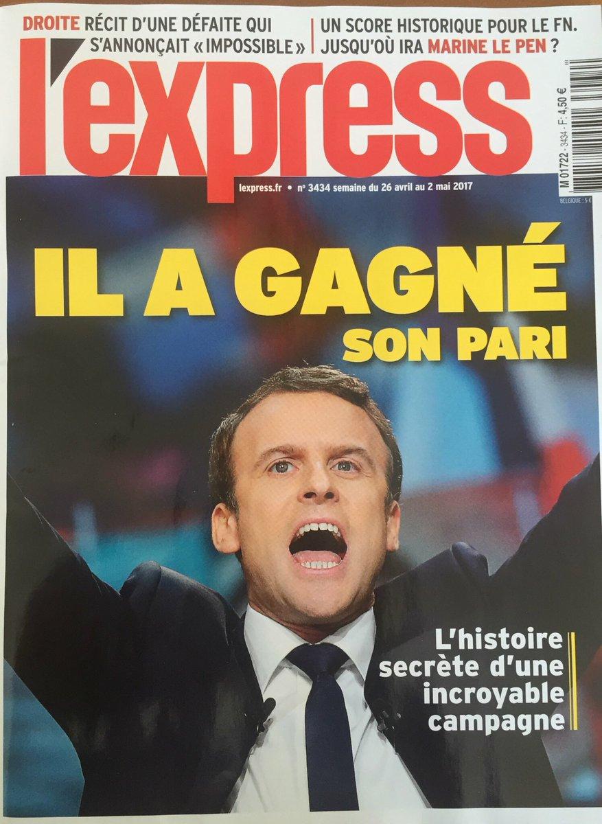 Cette 'une' anti-Macron. 1/ Il n'a pas gagné. 2/ Crier victoire démobilise l'électorat. 3/ L'Express s'abrite sous le mot 'pari' en petit.