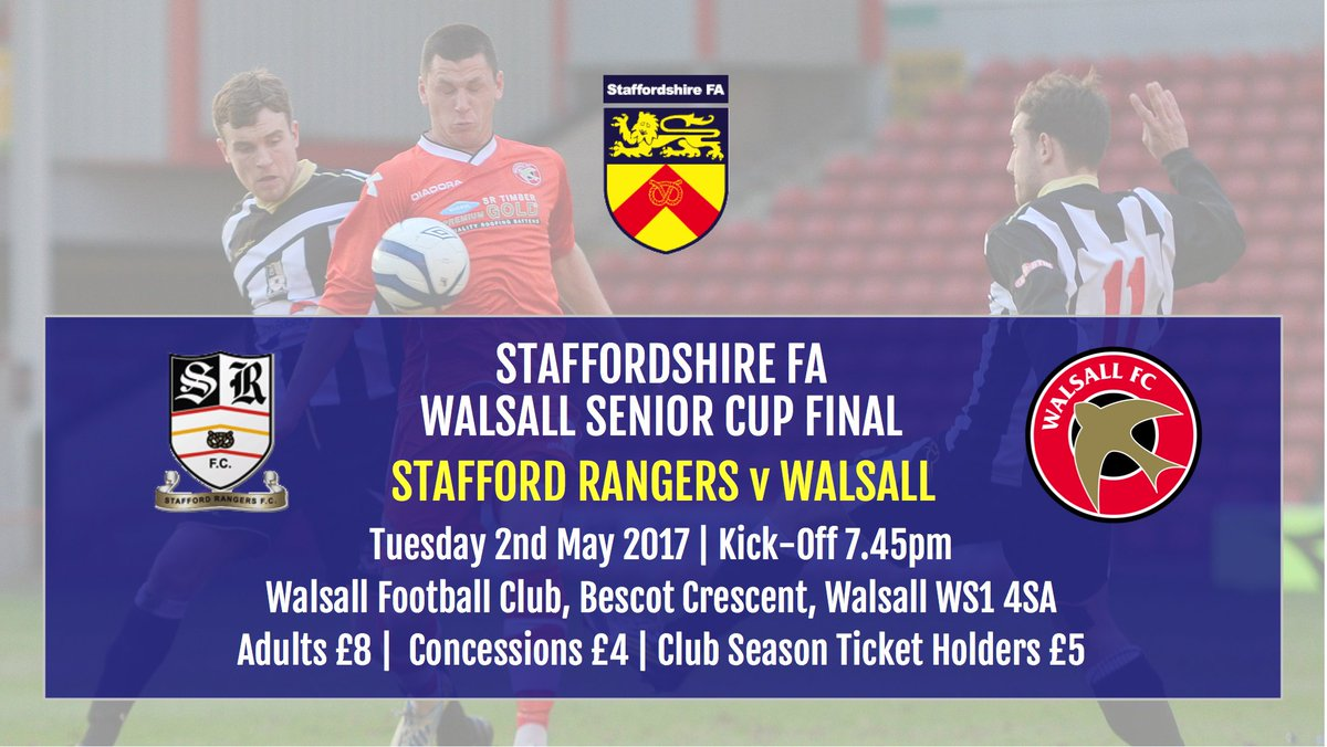Walsall Senior Cup | Ticket Information for Tuesday Evening's Final