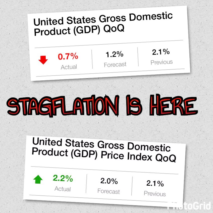 #Stagflation - The word no one wants to here is among us. $SPY $DIA $QQQ $IWM $GLD $GDX #USD #EUR #JPY #GBP #CRB #VIX #Gold #VIX #Silver<br>http://pic.twitter.com/KovO3QttiP