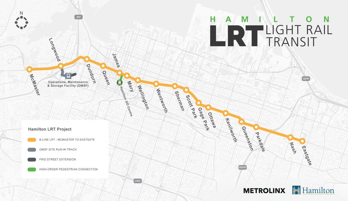 Hamilton LRT on Twitter Heres the new HamOntLRT BLine route map