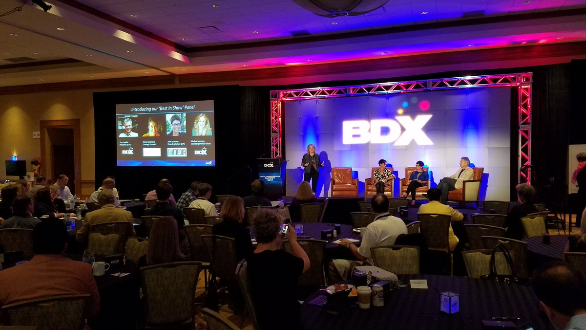 A Best in Show Panel at #BDXSummit shares @THE_BDX  perspective on new tech we saw at events like #CES2017 #CEDIA #SXSW #TecHomeX<br>http://pic.twitter.com/h3hNVpVGFr