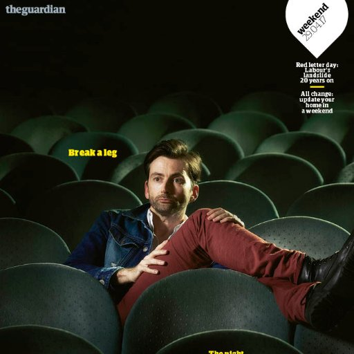 David Tennant on the cover of The Guardian's Weekend Magazine
