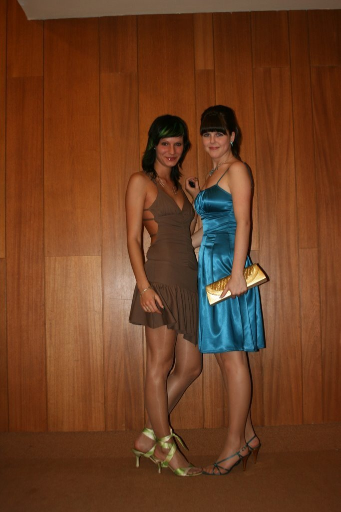 Two friends ready for a night on the town in pantyhose
