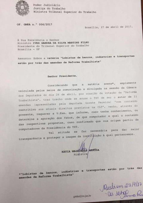 Ministra questiona Ives Gandra sobre 11 emendas da ref trabalhista que teriam sido feitas em computadores da presidência do TST #GreveGeral