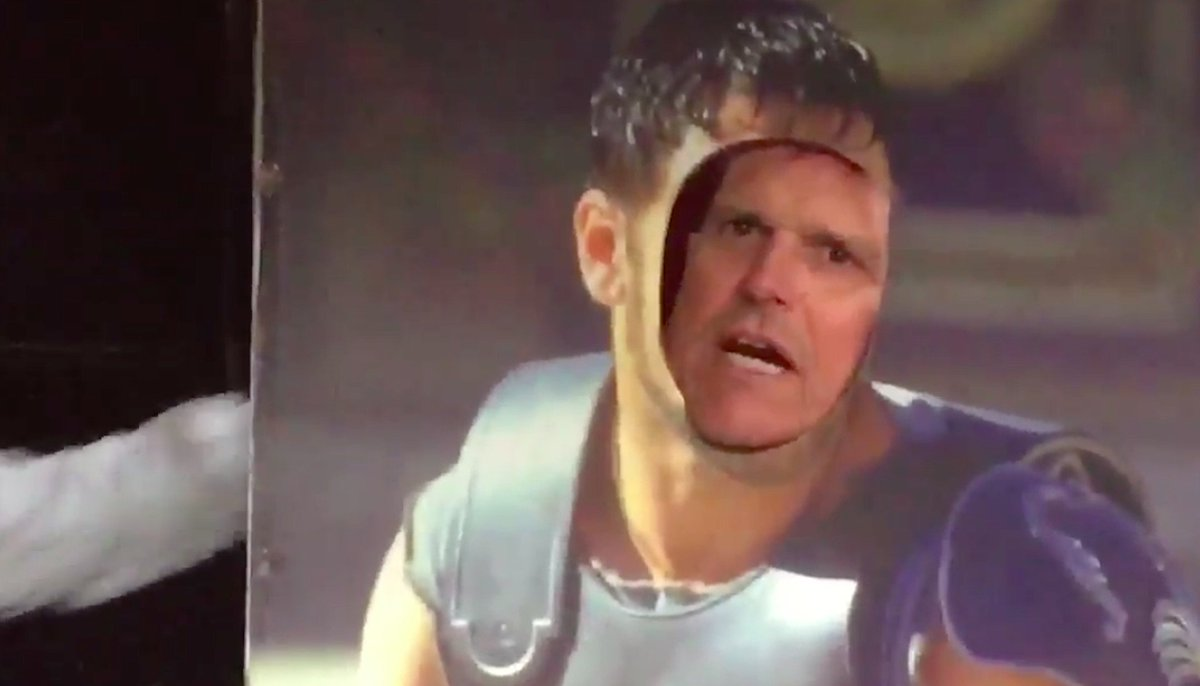 Jim Harbaugh delivers 'Gladiator' monologue in his special style: http://deadsp.in/vjJfq9K