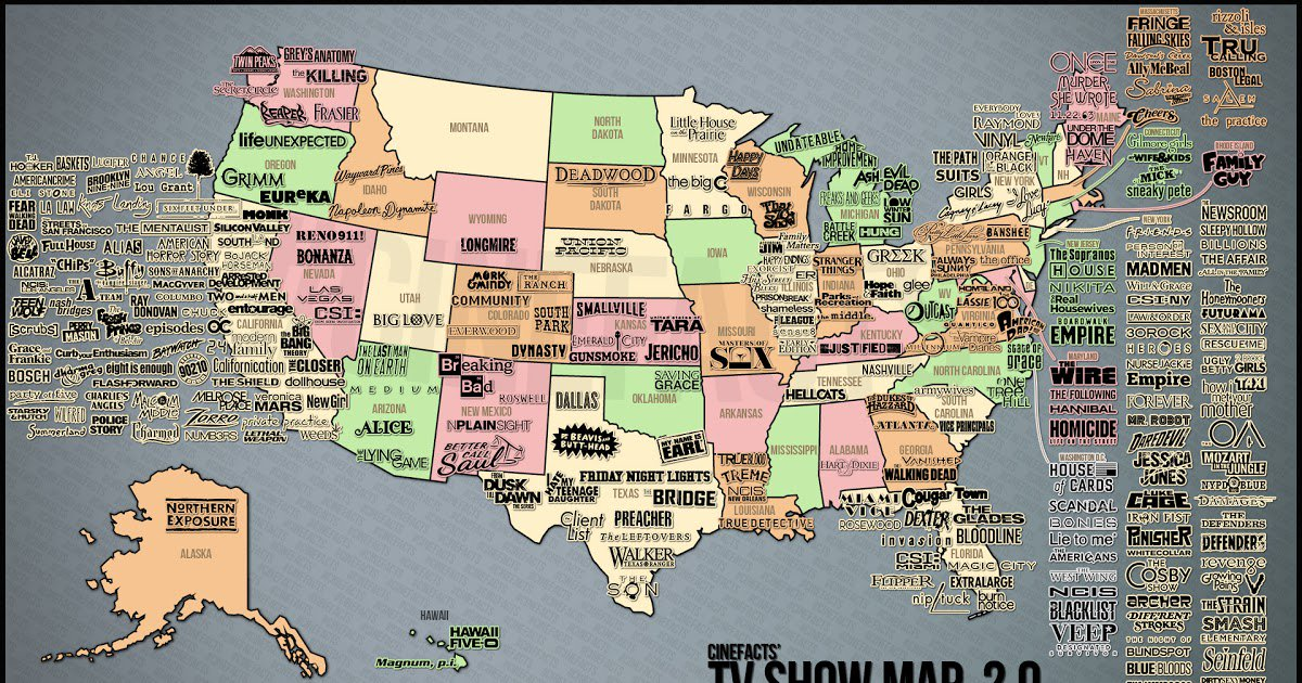 Show Map Of The Usa.Vivid Maps On Twitter U S Map Of Tv Shows Https T Co I52co1ivfx