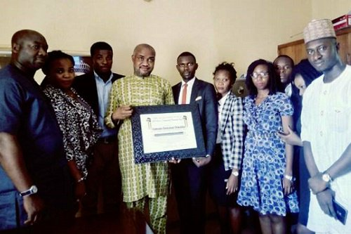 Trans-Africa Student's initiative presented African DISTINGUISHED Personality Award to Founder/National Coordinator of HURIWA, Emmanuel Onwubiko.