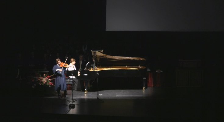 Graduating music major David Price (violin) and is accompanied by Jayne Galloway (piano) as he performs Nocturne by Liki Boulanger #CFACGrad https://t.co/Bzt6tjvRK0