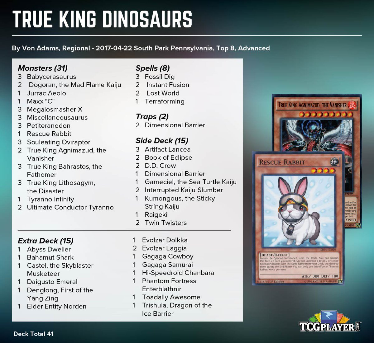 """TCGplayer.com on Twitter: """"Von Adams played this TK Dino deck with Rescue Rabbit to a Top 8 at the Pennsylvania Regional! https://t.co/tgERC8tMqd ..."""