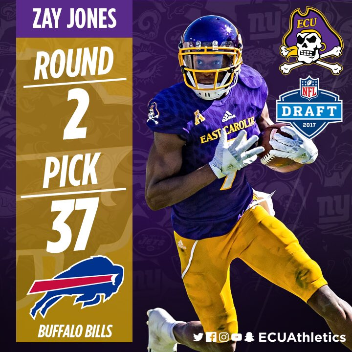 Congrats @ZayJones7 for being selected 37th overall in the #NFLDraft by the @buffalobills! #ECUndaunted https://t.co/8MkBfA40wA