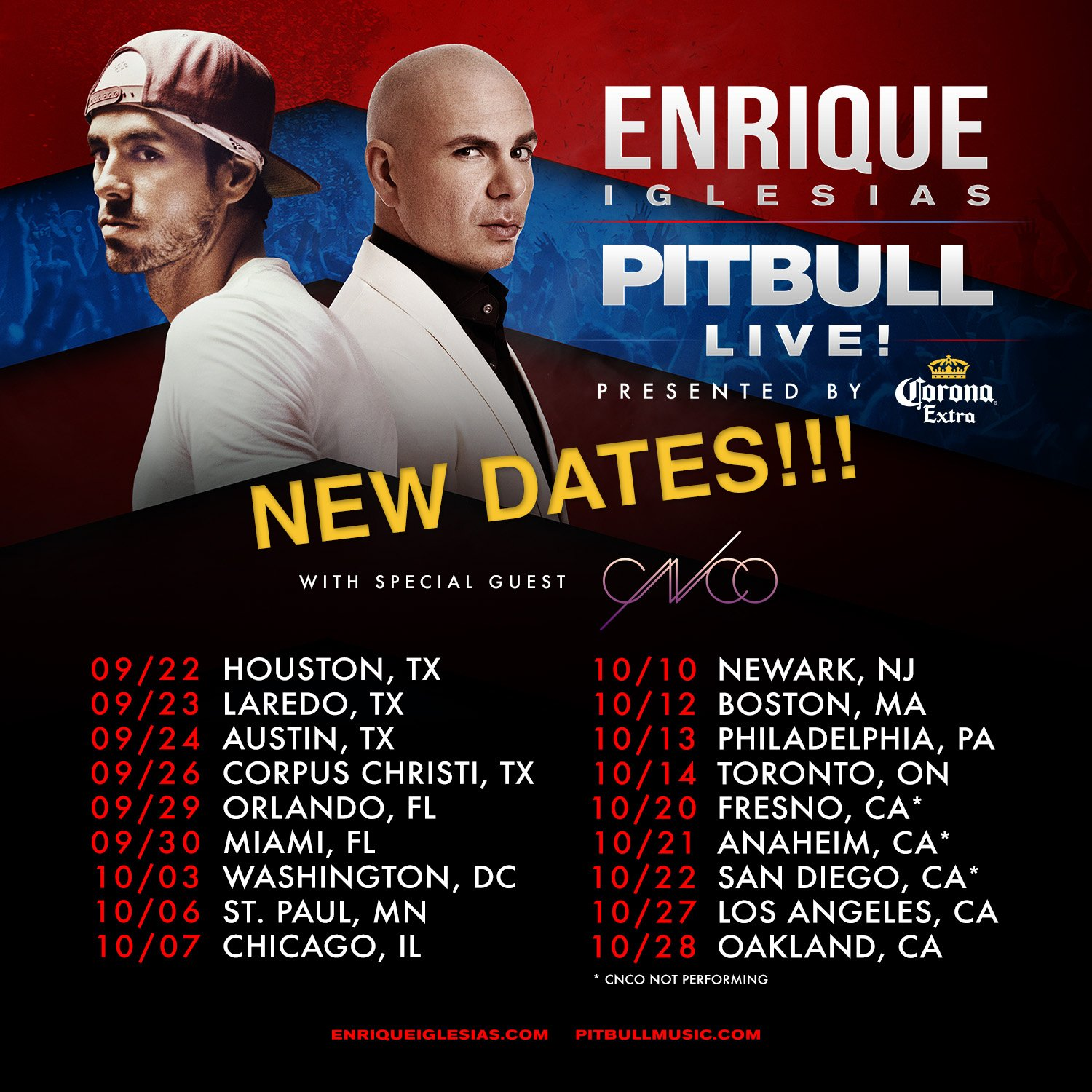 Ticket are on sale NOW for all dates of #EnriquePitbullTour.  Don't miss it: https://t.co/YfyhIIGvOO https://t.co/9BkSpiv8fJ