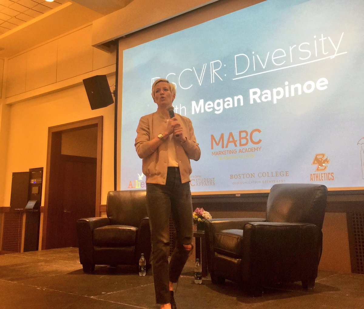 Afternoon well spent: @mPinoe talking about being your best you at Boston College. #NWSL #USWNT <br>http://pic.twitter.com/T1BwgH98zI