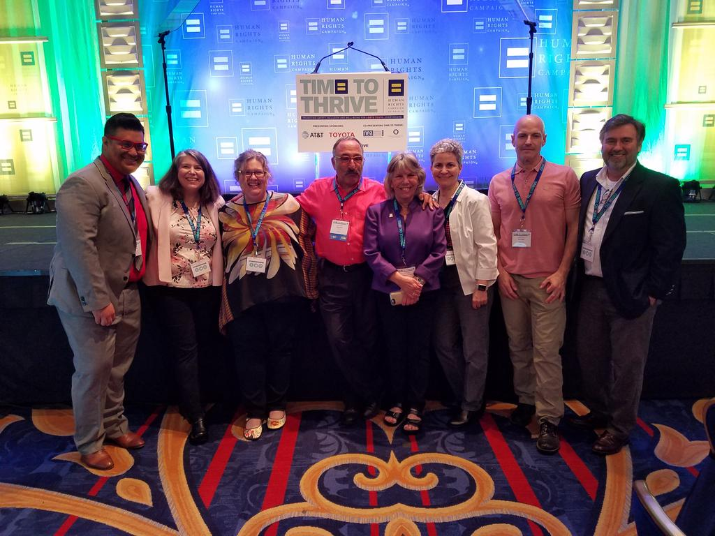 Amer Counseling Assn team ready for #Timetothrive. Amazing advocates for LGBTQ youth. @CounselingViews https://t.co/ArbtyC1BPx