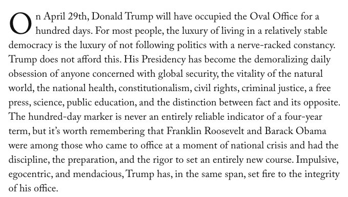 Remnick on Trump's first 100 days starts strong and gets stronger https://t.co/6dEFa6PvSz