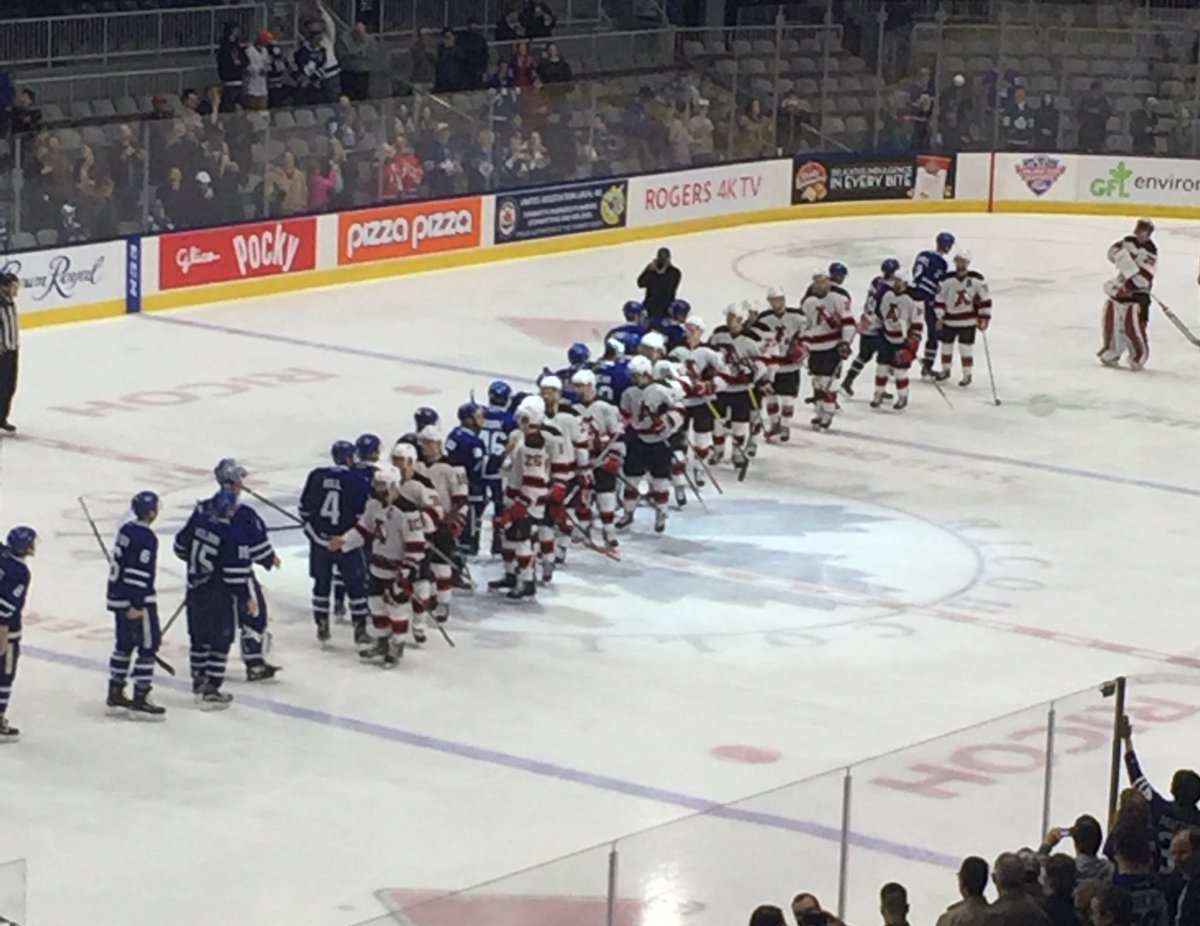 The #ADevils and Marlies shake hands to end the series #TORvsALB #FinalStand https://t.co/U9TgvPY5fQ