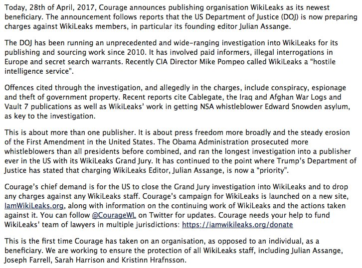 In response to CIA threats @couragefound launches WikiLeaks defense fund. You can contribute via Card, Bank, Bitcoin https://t.co/s8RhCHjSaL