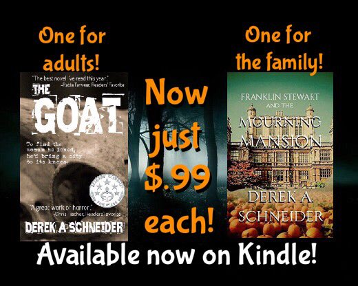 Two #books, now just $0.99 each! #YA #horror #ebook #kindle #fiction #reading #TheGoat #suspense  https://www. amazon.com/gp/aw/s/ref=is _s_ss_i_0_11?k=derek+a+schneider&amp;sprefix=derek+a+sch &nbsp; … <br>http://pic.twitter.com/h1xYbHoxWb