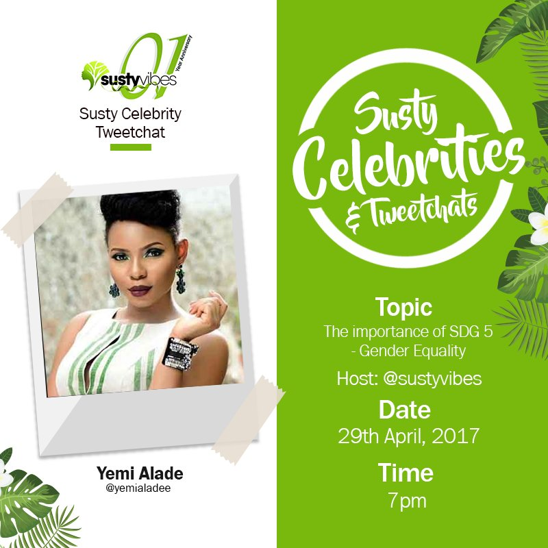 Later this evening, we'll chat with @yemialadee on SDG 5 - Gender Equality !!!  #SDGs #SustyCelebChats #OneYearofSustyVibes https://t.co/wTZtDw2Kb2