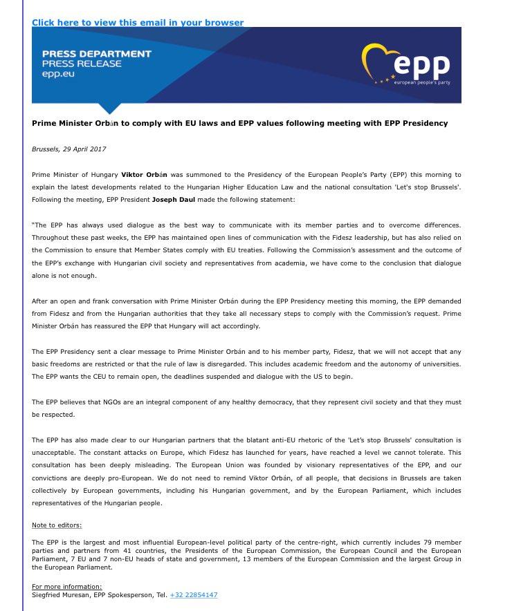 #Orban gibt beim Hochschulgesetz nach. Hier das offizielle Statement der @EPP. #euco #brexit #hungary