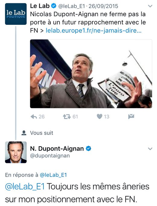 Dupont-Aignan et le FN : 'toujours les mêmes âneries', 'toujours la grosse ficelle'. 🤷🏼♂️ #PassionArchives