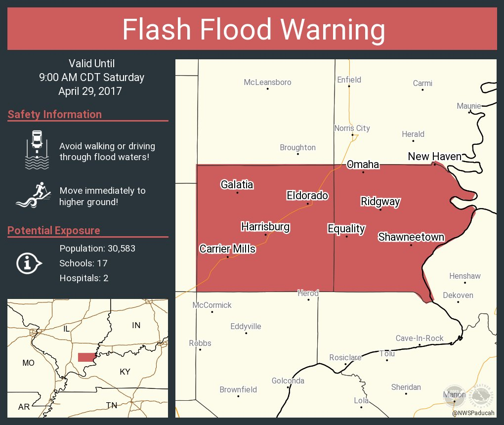 Harrisburg Illinois Map.Nws Paducah On Twitter Flash Flood Warning Including Harrisburg Il