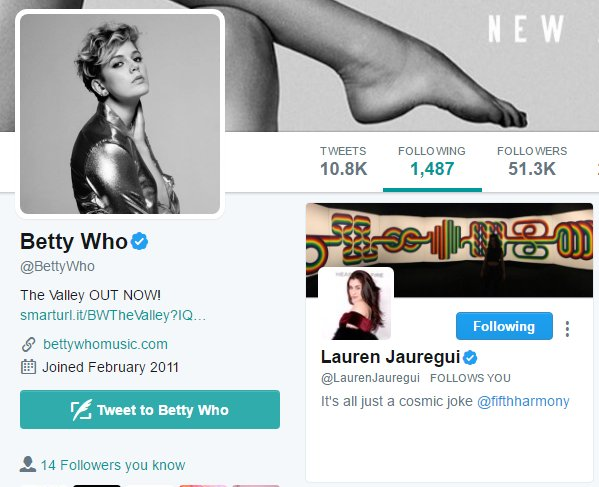 #UPDATE | @BettyWho is now following Lauren on Twitter<br>http://pic.twitter.com/2PxntPGcrw