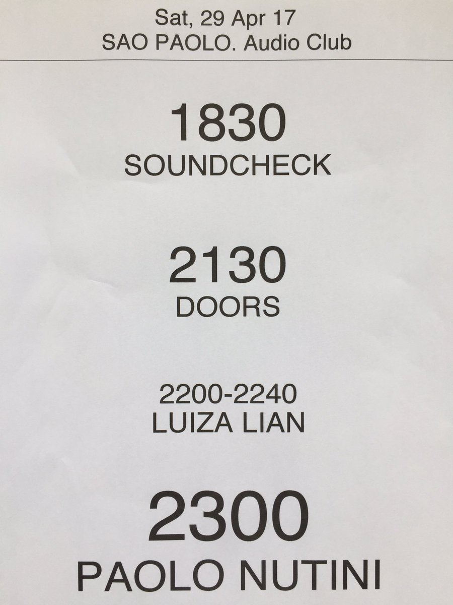 Timings for tonight at @audioclubsp in Sāo Paulo ...
