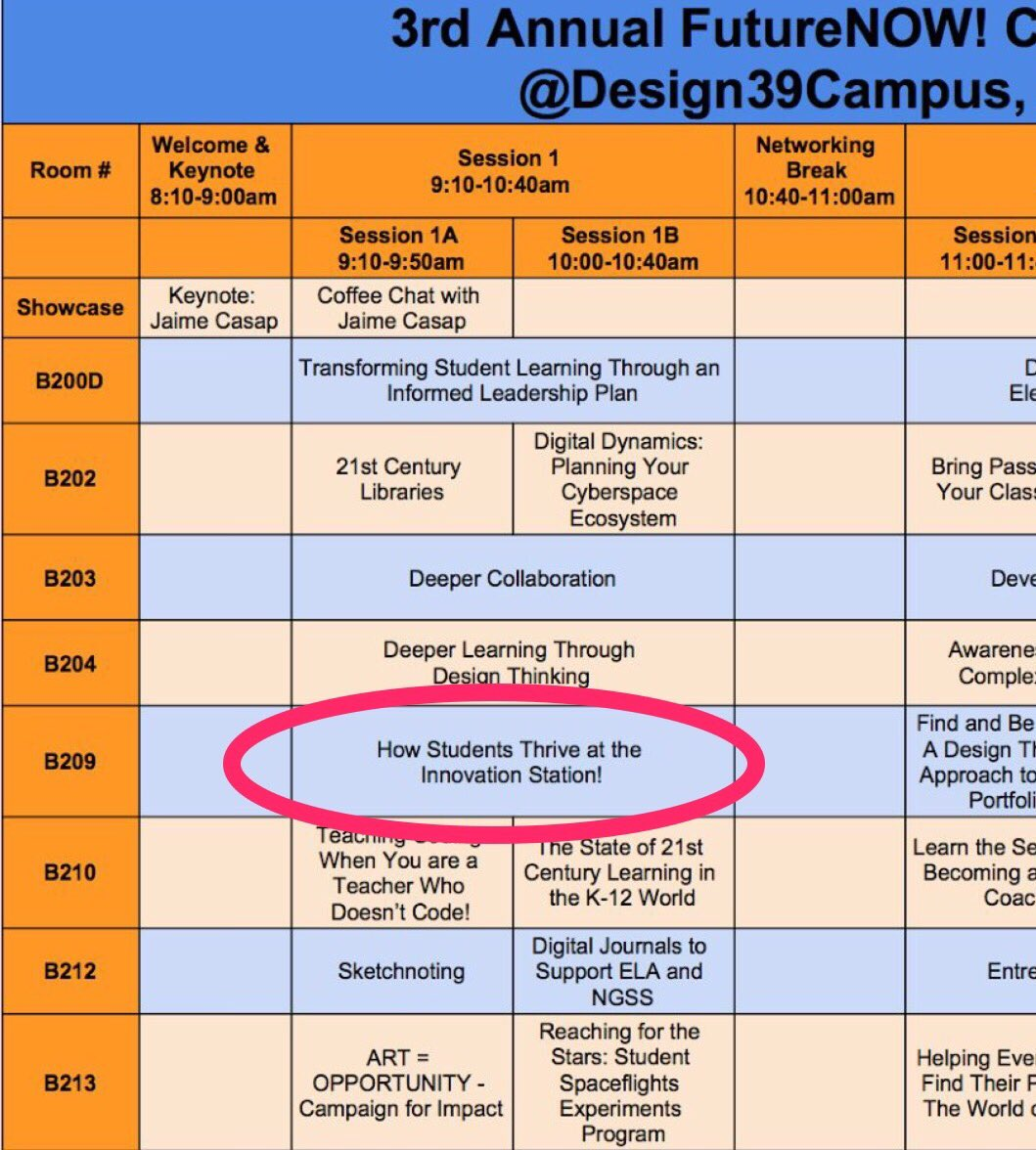 Attending @FutureNOWedu Conference today @Design39Campus? If so, check out our session led by @Mr_MBruder & @MisterDelaCruz! #FutureNowEDU https://t.co/v2FLAp2ERY