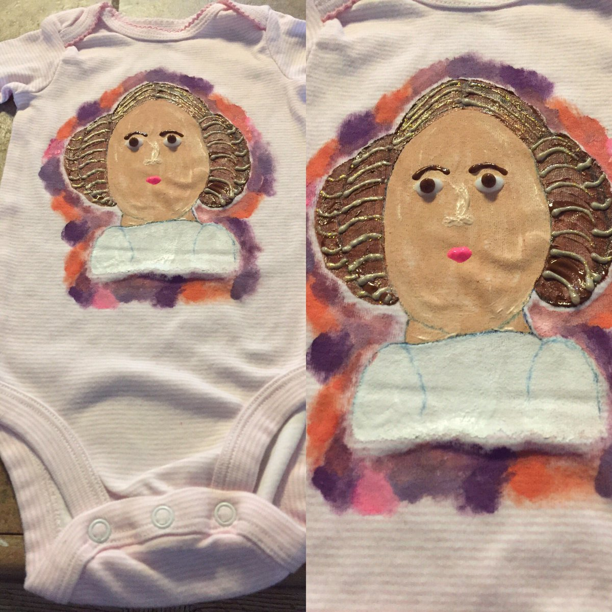 I painted Princess Leia for a little girl baby! Stars Wars birthday party! #PrincessLeia #StarWars<br>http://pic.twitter.com/ewGl4X2lrp