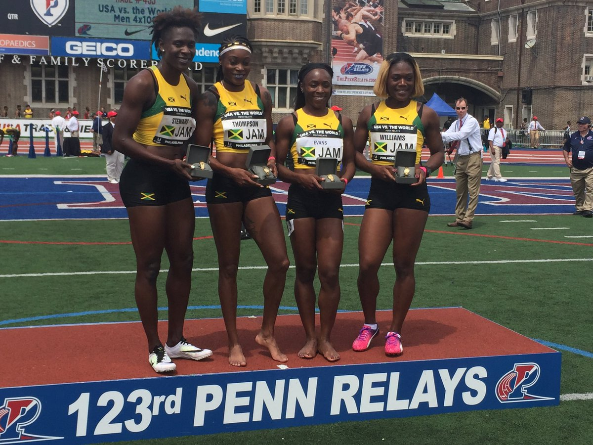 Kerron Stewart, Elaine Thompson, Gayon Evans and Christania Williams.